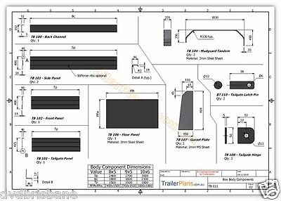 Trailer Plans - TANDEM BOX TRAILER PLANS - 8x5, 9x5, & 10x6ft - PLANS ON CD-ROM 8