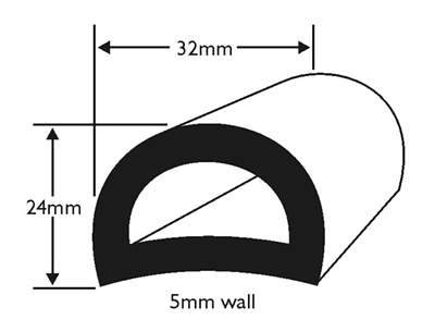 BOAT FENDER D SECTION 47MM BASE WHITE PVC RUBBING STRAKE BOAT//YACHT PER METRE