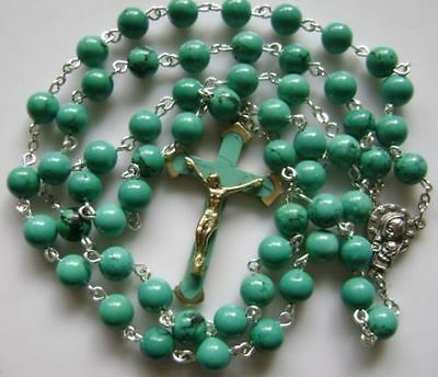 Turquoise BEADS & Turquoise CROSS Crucifix 5 DECADE ROSARY Catholic NECKLACE 3
