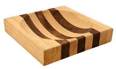 "Alaska Ulu Knife Set-Curved Knife  Wood Handle plus Chopping Board with Bowl 8"" 2"