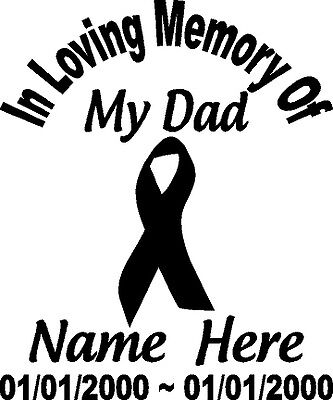 """In Loving Memory Of Decal 8/"""" Wide CHECKERED FLAG RACING Window Personalized RIP"""