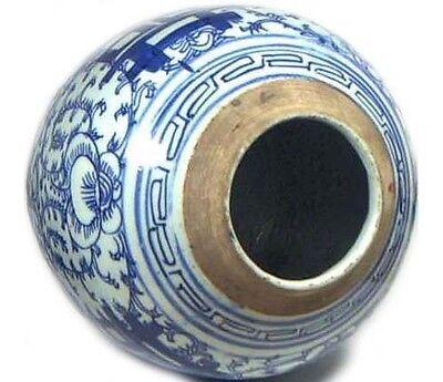 "Huge Antique 19thC China Hand Painted Porcelain Blue+White ""Ming Style"" Vase 3"