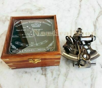 "4"" Brass Maritime Nautical Antique Sextant Astrolabe Navigational W/ Wooden Box 5"