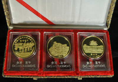 SET OF THREE GOLD PLATED SILVER MEDALLION x5516 2
