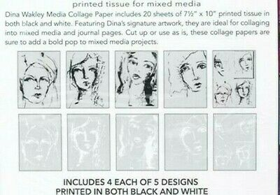 "Dina Wakley Media Collage Tissue Paper 7.5/""X10/"" 20//Pkg Vintage /&  789541068181"