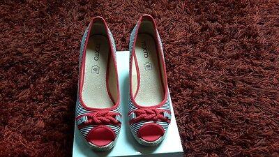 Sandales 24 Rouge Et T 39 Femme Eur Texto Neuve Compensées Bleu kOwXuTlPZi