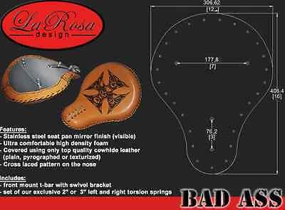 """HARLEY DAVIDSON CHOPPER BOBBER 16/"""" SOLO SEAT GREEN METAL FLAKE DIAMOND LA ROSA"""