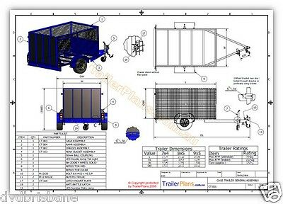 Trailer Plans - CAGE TRAILER PLANS - 3 sizes - 7x4, 8x5 & 9x5ft- PLANS ON CD-ROM 5