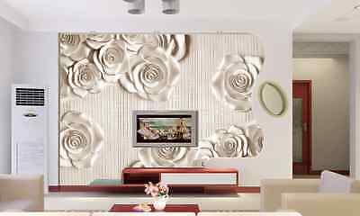 3D Silver Side White Roses Paper Wall Print Decal Wall Deco Indoor wall Murals