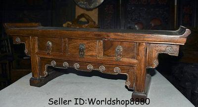 "25.2"" Antique Old China Huanghuali Wood Dynasty 3 drawer Desk Table furniture 5"