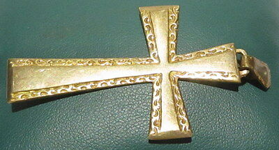 OUTSTANDING VINTAGE BRASS CROSS,ENGRAVING,EARLY 20th. Century !!! # 42A