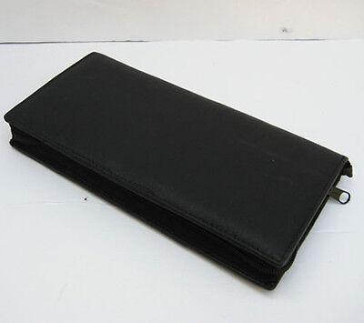 Black Leather Travel Organizer Wallet Boarding Pass Zip Passport Ticket Holder 3