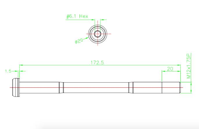 MT ZOOM Ultralight Shimano EThru Road Style front THRU AXLE 12mm x 100mm 27g T5