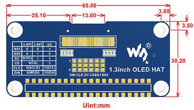 RASPBERRY PI 2/3B/3B+/ZERO/ZEROW 1 3inch 128x64 OLED Display HAT SH1106  SPI/I2C