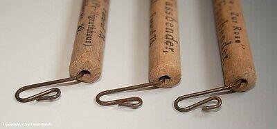 > 3 x Holzgriffe...Tragehilfe für Tüten mit Drogerie Reklame um 1900 <
