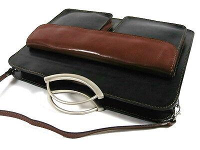 ECHT LEDER ital Aktentasche Metallgriff A4 Tasche Cognac GL065C