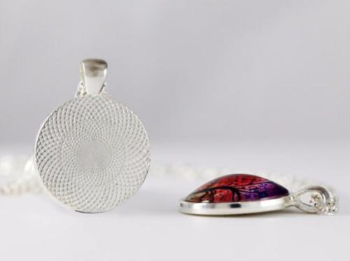 Sea anemones photo Black Dome Glass Cabochon Necklace chain Pendant #456