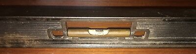 Vintage Stanley 24 Inch Cast Iron Level W/ Brass Vial Holders No. 36-14