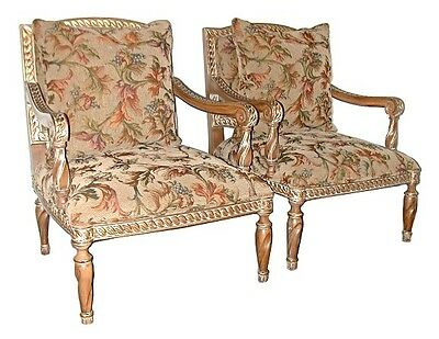 Pair of 20th C. Upholstered Armchairs #5602 5