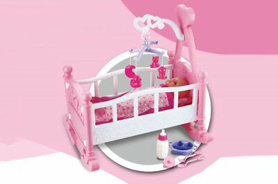 Pink Dolls Rocking Cradle Crib Cot Bed Girls Toy With Mobile, Blanket & Pillow 2