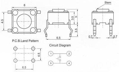 Micro SONDA sonda 6x6x5mm MICRO INTERRUTTORE PULSANTE INTERRUTTORE 4pin 5 pezzi