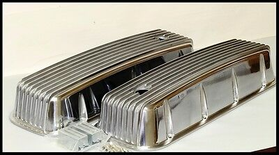 BBC CHEVY POLISHED TALL VALVE COVERS ORANGE  FIN VAL COVER  CR# 225