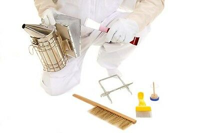 BUZZ BEE SUIT  with round veil, GLOVES, SMOKER AND COMPLETE STARTER TOOL KIT 5 • EUR 76,58