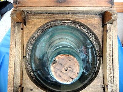 Primitive Antique Higham Rocker Lid Wood Box W/Antique Glass Bottle 8