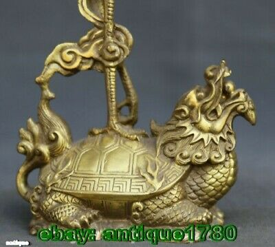 old Bronze Animal Crane Dragon Turtle Candle Holder Candlestick Statue Pair 3
