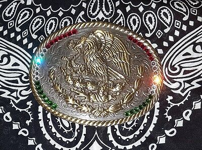 Mexico Coat of Arms Flag Western Rodeo Cowboy Mexican Vintage style belt buckle 2