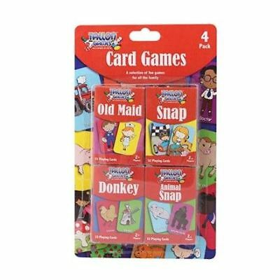 Pack of 4 Classic Chldrens Card Games Kids Travel Fun Old Maid Snap Donkey 2