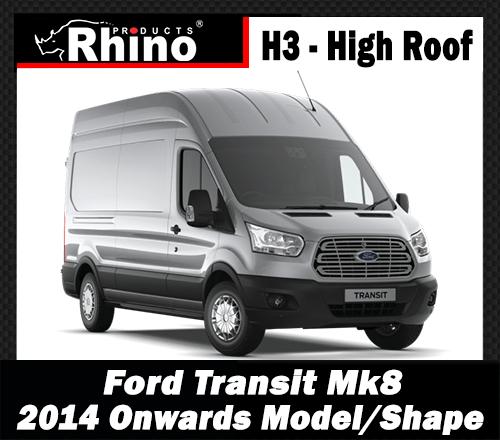 Ford Transit Roof Rack Bars x3 /& Rear Roller 2014-2019 Rhino Van L2-MWB H2-H3