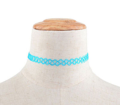 Hippy 90s Stretch Tattoo Elastic Boho Choker Necklace Bracelet Cord Retro Gothic 8