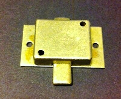 L-1B BRASS PLATED STEEL Flush Mount Cabinet Door Lock & Skeleton Key 2