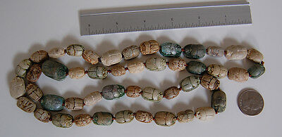 Long Antique EGYPTIAN SCARAB NECKLACE  (47 Scarabs) - Faience             (4B18) 6
