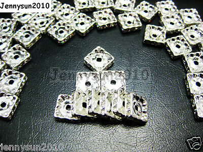 100pcs Czech Crystal Rhinestones Squaredelle Spacer Beads 5mm 6mm 8mm 10mm Pick 4