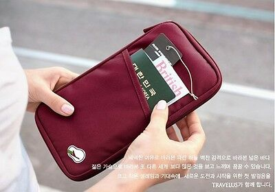 Travel Wallet Passport Holder Credit Card Case Document Ticket Organizer Bag