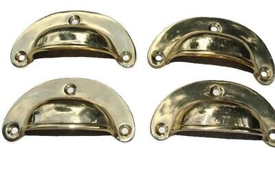 8 small shell shape pulls handles solid brass vintage POLISHED drawer 6.6 mm B 9