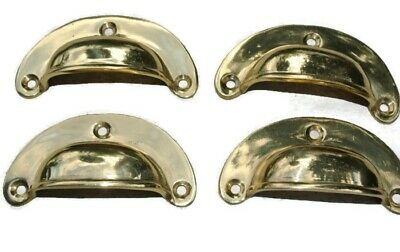 8 small shell shape pulls handles solid brass vintage POLISHED drawer 6.6 mm B 7