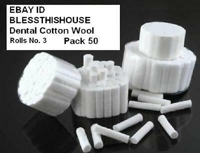 Dental Cotton Wool Rolls White Professional Size 3 Top Quality Pack 50 Free Post 2