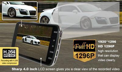"""Elinz Dash Cam Dual Camera Reversing 4"""" Recorder Car DVR Video 170° 1296P 32GB 5"""