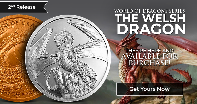 THE WELSH DRAGON 1 oz Silver Round Coin | World of Dragons - #2 of 6 - In-Stock! 3