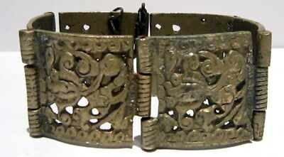 BEAUTIFUL ANTIQUE 1800s.SILVER BRACELET in 6 PARTS,AMAZING FLORAL DECORATION # 4