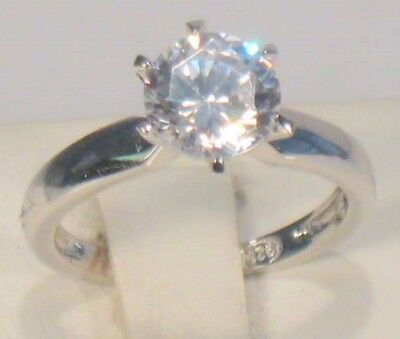 2 Ct Round Diamond Solitaire Engagement Ring White Gold Platinum Finish 3