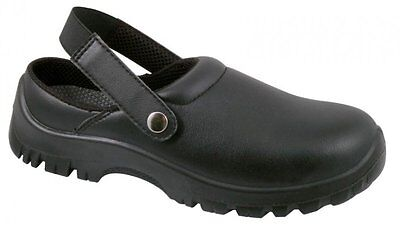 BLACKROCK Klog With Back Strap Black Safety Shoes Catering Kitchen ONLY £19.99 !