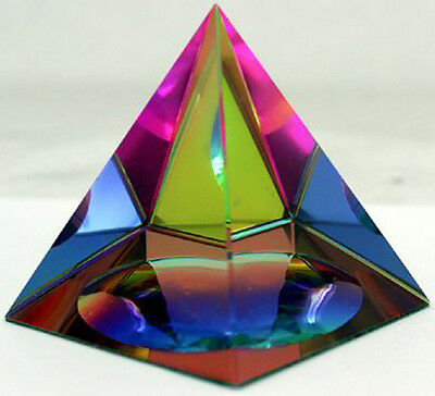 "Crystal Iridescent Pyramid - Rainbow Colors 2.3"" with Gift Box 2"