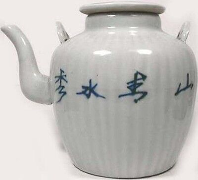Antique 19thC Blue + White Ming Style Porcelain Teapot Water Buffalo Farm Motif 2