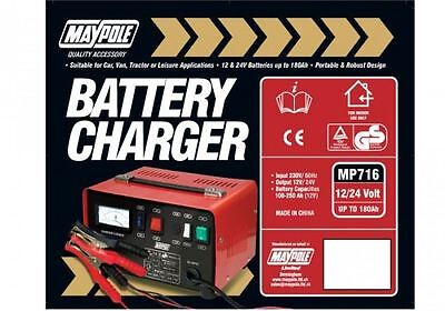 New MAYPOLE MP716 12A Metal Battery Charger 12/24V Fast/Boost Mode Robust Steel 2