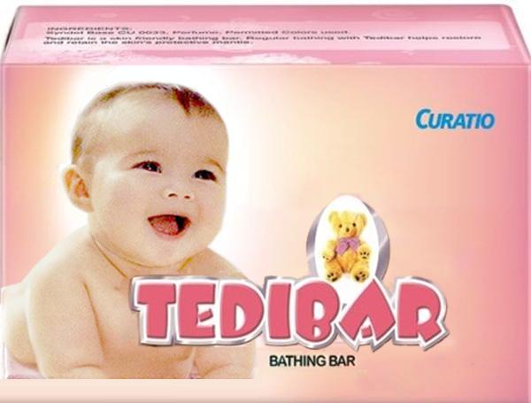 4x Curatio Soap Tedibar free of HARMFUL ALKALI for soft supple healthy skin 75gm 2