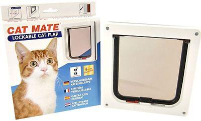 Petmate Cat mate Cat Flap Pet Door White Brown 304W 304B Lockable Catflap